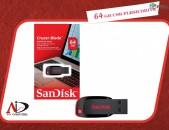Fleshka 64 GB  SanDisk Cruzer Blade USB 2.0 հիշողության չիպ flesh կրիչ флешка Ֆլեշկա Նոր բարձրորակ