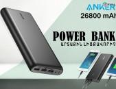 Բարձրորակ anker power bank 26800 mah արտաքին մարտկոց charger