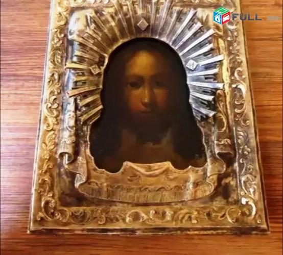 Ikona սրբապատկեր արծաթ-ակլադ ոսկեջուր
