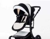 Детская коляска Aimile 2 в 1 чёрно-белая экокожа Wingoffly, Детские коляски