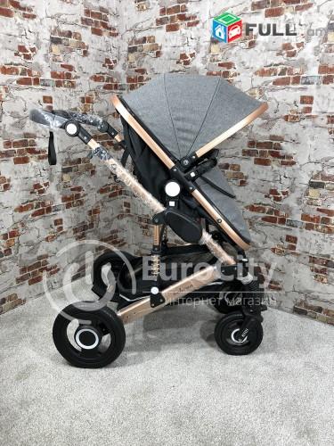Детская коляска-трансформер 2 в 1 от компании Belecoo 535-Q3 (Dark Grey) Прогуло