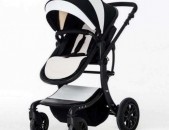 коляски Детская коляска Aimile 2 в 1 чёрно-белая экокожа Wingoffly
