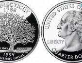 25 центов - (квотер) 1999 США Коннектикут - 25 cents - ԱՄՆ 25 ցենտ