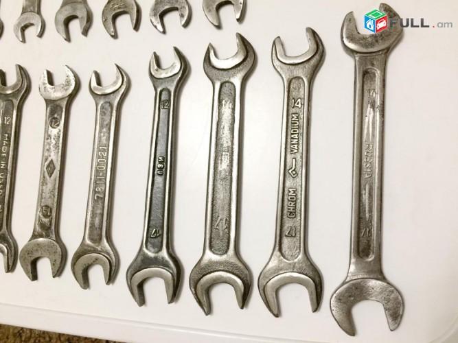 Սովետական գործիքներ տարբեր համարների гаечни клучи
