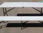 Վարձույթով Սեղան իր նստարաններով կոմպլեկտ, ծալվող հարմար սեղաններ, ամուր և որակյալ