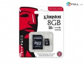 8GB chip Kingston micro SD Card Class 10 + Adapter micro chip (Նոր) + araqum
