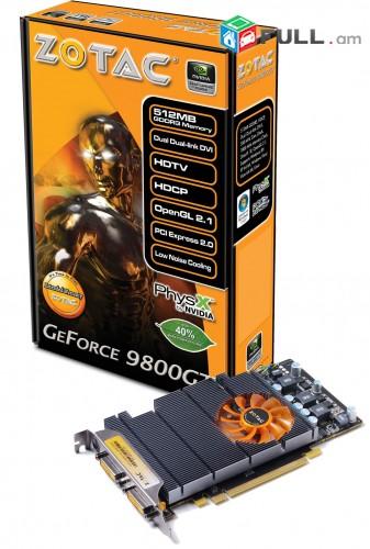 Videocard Zotac 9800GT 1Gb 256Bit DDR3 2xdvi + անվճար առաքում և տեղադրում