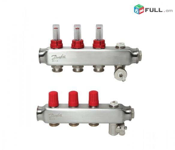 Коллектор из нержавеющей SSM-F стали с расходомерами - Manifold 3+3