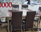 Մարմարեպատ, բացովի խոհանոցային սեղան և կաշեպատ աթոռներ