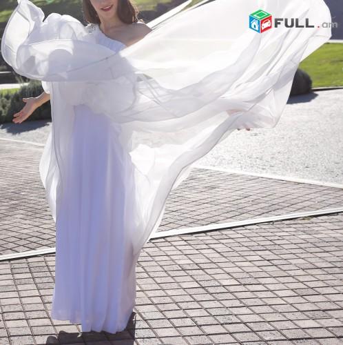 Հունական ոճի հարսանեկան նրբագեղ զգեստ