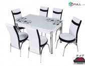 Ապակյա սեղան + 6 աթոռ