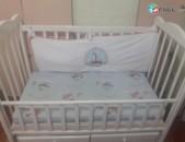 Մանկական մահճակալ փայտից, детская кровать, ներքնակը կոկոսի փաթիլներով, кокосовая