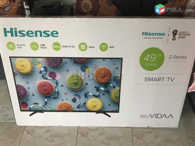 "0% ԱՊԱՌԻԿ - 49"" FULL HD Hisense SMART և T2 Երաշխիք TV herustacuyc հեռուստացույց"