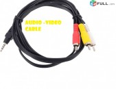 Audio video cable 3RCA mini jack 3,5mm 1m for PC TV monitor camera