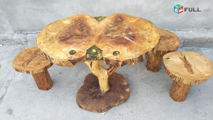 Կոճղից սեղան և աթոռներ էպոքսիդով