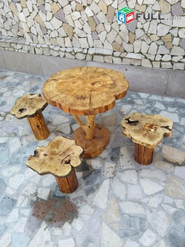 Սեղան և աթոռներ Ծառի կոճղերով, Стол и стулья из дерева
