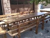 Սեղան և նստարաններ փայտից, sexan ev nstaranner paytic
