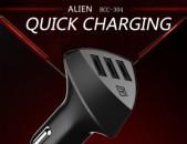Remax Alien Մեքենայի լիցքվորիչ 3 USB, car charger, fast charge, zaryadnik, meqen