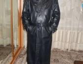 Плащ кожаный мужской черный Размер 54-56
