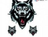 Avto Nakleyka Gayl (3 ktoric) Wolf Head Stickers avto aksesuar