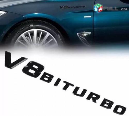 V8 BITURBO Emblem Black for Mercedes Benz