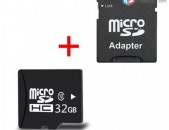 32GB chip Micro SD Card Class 10 + Adapter micro chip (Նոր)