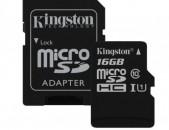 Карты памяти Kingston micro sd hc 16GB класс 10 с адаптером նոր անվճար առաքում