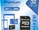 Карты памяти Verbatim micro sd hc 32GB класс 10 с адаптером նոր անվճար առաքում