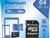 Карты памяти Verbatim micro sd hc 64GB класс 10 с адаптером նոր անվճար առաքում