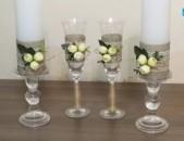Հարսանեկան մոմեր և բաժակներ Harsanekan momer ev bajakner