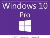 Microsoft Windows 10 Pro key x86 / x64 լիցենզիոն բանալի 1 համակարգիչի համար