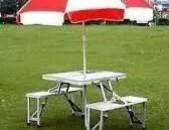 Ծալովի սեղան և աթոռներ բնության գրկում հանգստի համար, մատչելի գնով