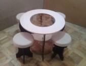 Ժուրնալի սեղաններ կլոր ապակիյով