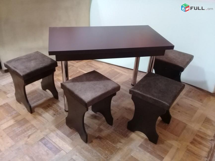 Խոհանոցային սեղաններ  երկաթե ոտքերով + 4 աթոռով