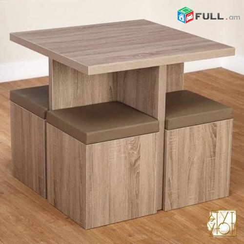Փափուկ աթոռներ իր սեղանի հետ