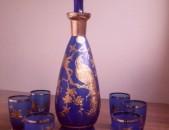 Bohem apaki voskezoc - komplekt, Բոհեմ հավաքածու ոսկեզօծ, богемское стекло
