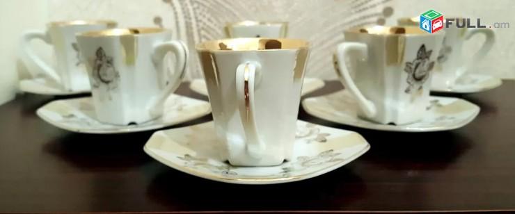 Ոսկեջուր անտիկ բաժակներ սուրճի