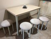 Մետաղական  հիմքով  խոհանոցի  սեղան, աթոռ