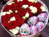 Կոմպոզիցիաներ ծաղիկներով և շոկոլադներով