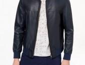 Daniel Hechter Paris Leather Bomber Jacket, kashve kurtka, sev guyn, 52 hamar, M