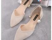 Обувь на плоской подошве женская обувь сладкий жемчуг замша