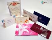 Հրավիրատոմսերի, բացիկների դիզայն և տպագրում