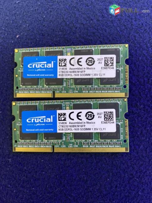 8GB 1600MHz RAM DDR3 SO-DIMM Crucial RAM 8GB DDR3 1600 MHz CL11 CT8G3S160BM.M16FP