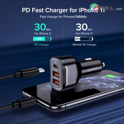 USB լիցքավորիչ մեքենայի QOOVI 30W Quick Charge 3.0