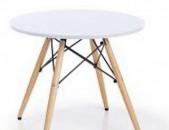 Սեղան խոհանոցային կլոր սպիտակ և սև, փայտից ոտքերով Sexan xohanoci klor spitak, sev