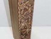Գինու շշի տուփ փայտից փաթիլային նախշերով: Տեսակ 60