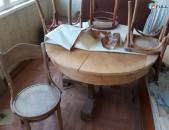 Հին Սեղան 4 աթոռներով և կամոդ շատ հին