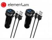 Ավտոմեքենայի Լիցքավորիչ և Լար |HOCO Z40 Lightning/Micro-USB / licqavorich avtoyi meqenayi lar
