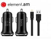 Ավտոմեքենայի Լիցքավորիչ և Լար |HOCO Z1|Micro USB/Lightning / meqenayi modulyator licqavorich lar avtoyi aqsesu