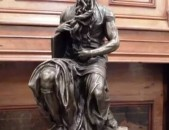 The copy of Michelangelos marble Moses, bronze sculpture by 19C French sculptor